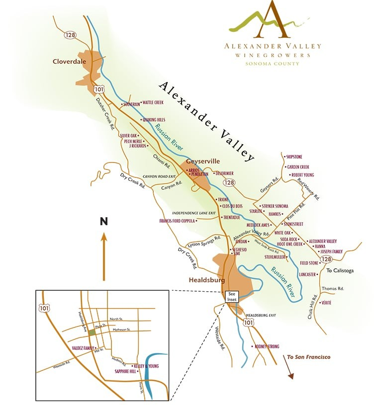 Alexander Valley wine tours map Simply Driven